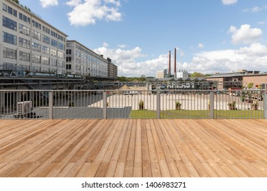 Eindhoven, The Netherlands, May 4th 2019 A rooftop view on industrial district Strijp S Ketelhuisplein and Anton & Gerard Philips buildings in Eindhoven