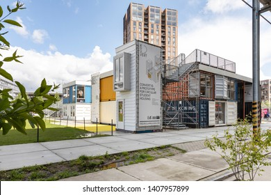 Eindhoven, the Netherlands, May 4th 2019. Creative temporary container city, self built with shipping containers. Plug-in City building on Strijp S Eindhoven, the Netherlands on a sunny day