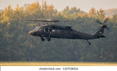 EINDHOVEN, THE NETHERLANDS - OCT 25, 2017: United States Army Sikorsky UH-60 Blackhawk transport helicopter in flight.