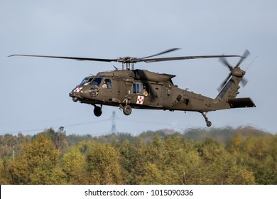 EINDHOVEN, THE NETHERLANDS - OCT 27, 2017: United States Army Sikorsky UH-60 Blackhawk transport helicopter in flight.