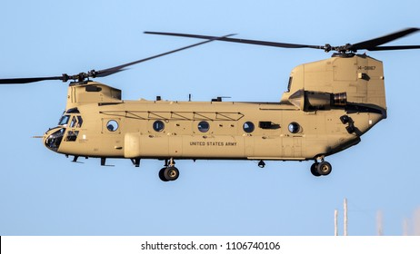 EINDHOVEN, THE NETHERLANDS - OCT 27, 2017: United States Army Boeing CH-47F Chinook transport helicopter in flight.