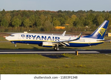 EINDHOVEN, THE NETHERLANDS - OCT 27, 2017: Boeing 737 airplane from Ryanair about to land on Eindhoven Airport.