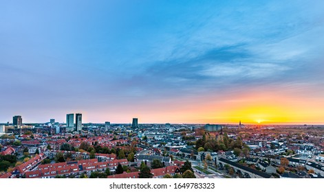 Eindhoven, Netherlands - Oktober 2019  Aerial view over the city of Eindhoven, in the front you see the neighborhood Vonderkwartier.