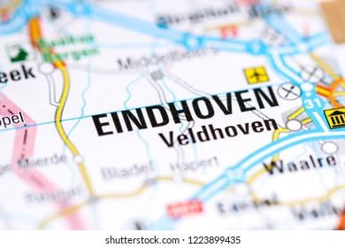 Eindhoven. Netherlands on a map