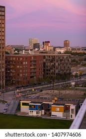 Eindhoven, The Netherlands, September 17th 2018. Sunset view on the creative temporary container city, self built with shipping containers. Plug-in City building on Strijp S Eindhoven, the Netherlands