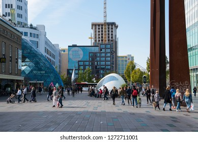 Eindhoven, The Netherlands - September 30, 2018; The shopping centre of Eindhoven with shopping people, one of the largest dutch cities in the south of the Netherlands