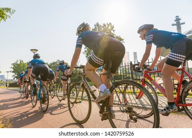 Eindhoven, The Netherlands, September 3rd 2017, A group of women doing sports race cycling through the streets of Eindhoven on a sunny day