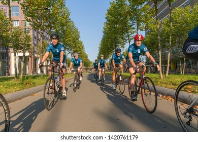 Eindhoven, The Netherlands September 3rd 2017, A group of women race cycling through the streets of Eindhoven Strijp S Torenallee on a sunny morning