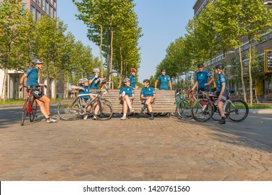 Eindhoven, The Netherlands September 3rd 2017, A group of women having a break from race cycling through the streets of Eindhoven Strijp S Torenallee on a sunny morning