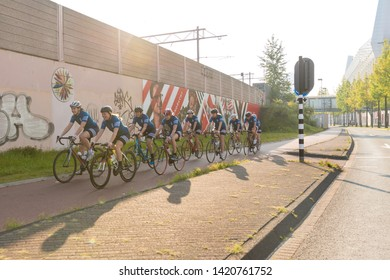 Eindhoven, The Netherlands September 3rd 2017, A group of women race cycling through the streets of Eindhoven on a sunny morning