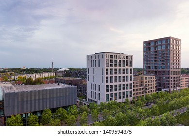 Eindhoven, The Netherlans, May 23rd 2019. A view of the Torenallee with trees and the Space-S and Sint Lucas building, Strijp S