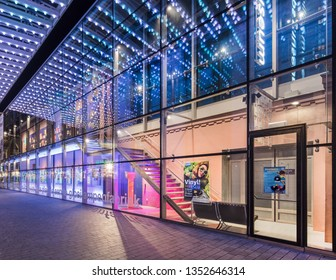 EINDHOVEN-MARCH 22, 2019. Illuminated facade of the Philips Museum at night. It is housed at the historic location where, in 1891, Gerard Philips manufactured his first incandescent light bulb.