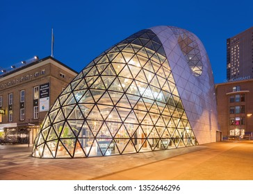 EINDHOVEN-MARCH 22, 2019. The organic shaped Blob building, a futuristic design by architect Massimiliano Fuksas. It is a landmark in Eindhoven, famous for its mix of technology, design and culture.