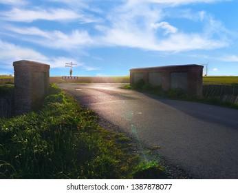 Eine schöne Aussicht, mit einer kleiner Brücken die zu einer atemberaubenden Landschaft führt.