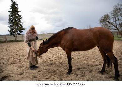 Eine Frau Anfang 40, füttert ihr Pferd mit den Möhren, sie hat einen Korb an der Hand, der Kopftuch, eine Decke über die Schulter. Es ist April, der Stahl ist aus dem Holz. Frau kuschelt mit Pferd - Shutterstock ID 1957111276
