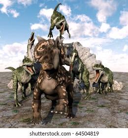einiosaurus great scape from monolophosaurus gang