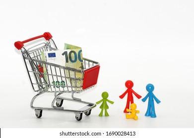 Einkaufswagen Shopping Symbol freigestellt auf weißen Hintergrund
