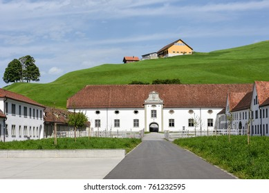 Einsiedeln abbey in front of farmland on Switzerland