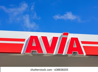 Einsiedeln, Switzerland - 7 September, 2015: sign on the roof of an AVIA filling station. AVIA International is a company, represented by more than 2900 filing stations in 14 European countries.