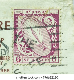 Eire - CIRCA 1966 - vintage Irish stamp shows the Sword of Light