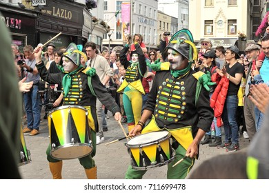 eire square, Galway, Ireland July , art Festival 2017, Mobile Home, Drummers playing street show before the lift up