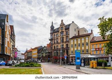 EISENACH, GERMANY - MAY 31, 2015: Downtown of Eisenach, Thuringia, Germany. Eisenach is a town and the main urban centre of western Thuringia
