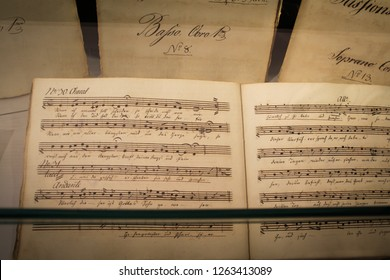 Eisenach, Thuringia, Germany- Sep 20, 2018. Johann Sebastian Bach Museum in Eisenach the place, where he was born. The music book with notes.