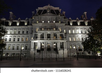 Eisenhower Administration Building at night