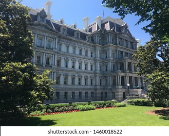 Eisenhower Executive Office Building with blue sky