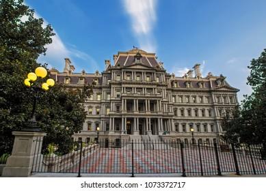 Eisenhower Executive Office Building facade with blue sky background, Washington, DC, USA
