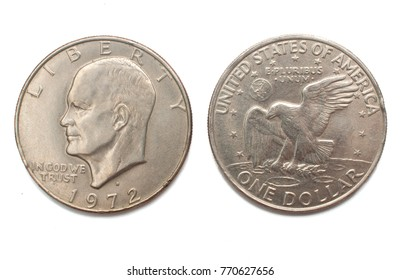 Eisenhower one dollar (1972) silver coin isolated on white background