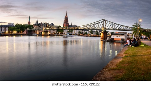 The Eiserner Steg is a footbridge spanning the river Main in the city of Frankfurt, Germany, which connects the centre of Frankfurt with the district of Sachsenhausen.