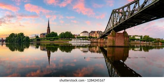 Eiserner Steg is one of several bridges that spans across the Main Rive