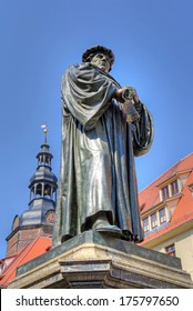 EISLEBEN, GERMANY - APRIL 23: Statue of Martin Luther  in Eisleben on April 23, 2011.  Luther City Eisleben is UNESCO World Heritage Site