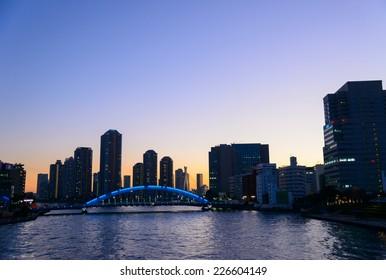 Eitai bridge and Okawabata Rivercity 21 in Tokyo at dusk