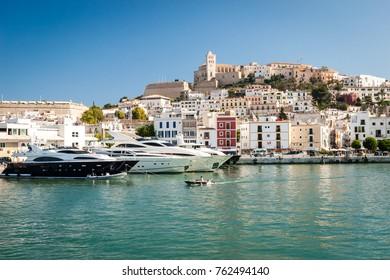 EIVISSA, IBIZA, SPAIN - JUNE 30, 2007: Beautiful view of old town of Eivissa - the capital of Ibiza island, Spain.