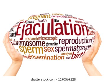 Ejaculation word cloud hand sphere concept on white background.