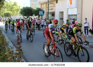 Ejea de los Caballeros, Spain - September 13, 2018: The cyclists of the Vuelta de Espana just after the beginning of the race