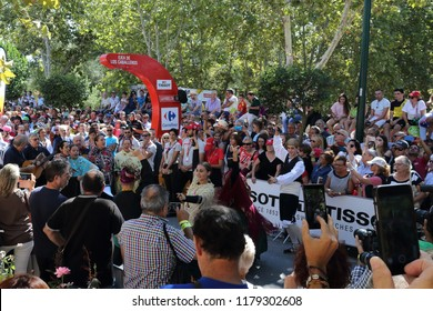 Ejea de los Caballeros, Spain - September 13, 2018: A Jota, a typical Spanish Aragonese dance, being danced just before the beginning of the Vuelta de Espana, stage 18