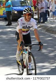 Ejea de los Caballeros, Spain - September 13, 2018: Sergio Luis Henao Montoya approaching to the start of Vuelta de Espana, stage 18