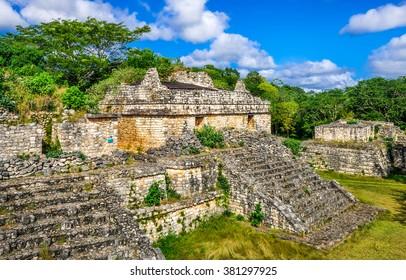 Ek Balam Mayan Archeological Site. Ancient Maya Pyramids and Ruins, Yucatan Peninsula, Mexico.