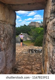 Ek Balam, Mexico - February 1, 2018: Majestic ruins in Ek Balam. Ek Balam is a Yucatec Maya archaeological site within the municipality of Temozon, Yucatan, Mexico.