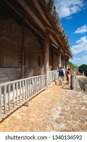 Ek Balam, Mexico - February 1, 2018: Very steep stairs in majestic ruins in Ek Balam. Ek Balam is a Yucatec Maya archaeological site within the municipality of Temozon, Yucatan, Mexico.