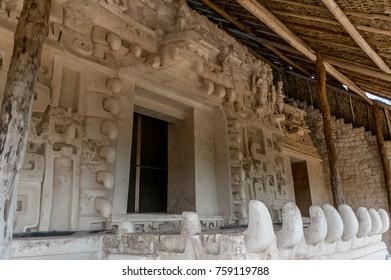 Ek Balam, Mexico, May 17, 2017 - Ek Balam Mayan Artifacts, Warriors, Temples, and Ruins