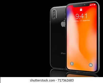 Ekaterinburg, Russia - 14 september: 3D Render of a black iPhone X with Apple Inc logo Illustrative Editorial Image, on a black background.