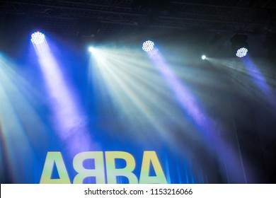 """Ekaterinburg, Russia - February 16, 2018: Stage lights. Soffits. Concert light. Orchestra Concert """"Other Band"""" plays """"ABBA"""""""