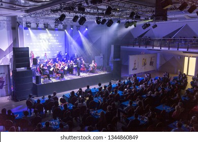 Ekaterinburg; Russia - February 16; 2018: Performance of the orchestra in the rays of the spotlights