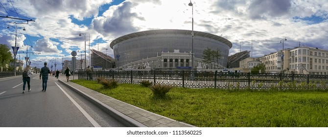 Ekaterinburg, Russia - June 15, 2018: Panoramic view of the stadium Ekaterinburg Arena at the match Egypt - Uruguay at World Cup.