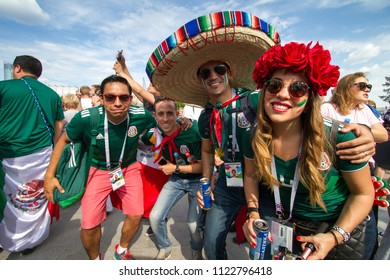 Ekaterinburg, RUSSIA - June 27, 2018: Mexican fans have a fun on a fans festival in match Mexico vs Sweden. Fifa World Cup 2018.