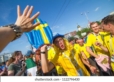 Ekaterinburg, RUSSIA - June 27, 2018: Fifa World Cup 2018  soccer football fans walking in Ekaterinburg and takes pictures with people